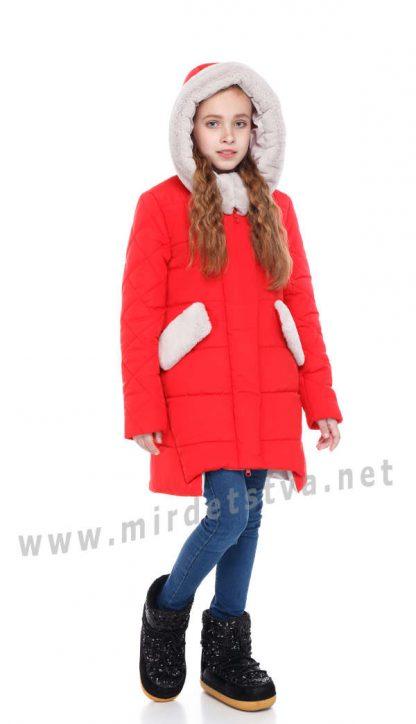 Красный зимний пуховик для девочки Origa Юта
