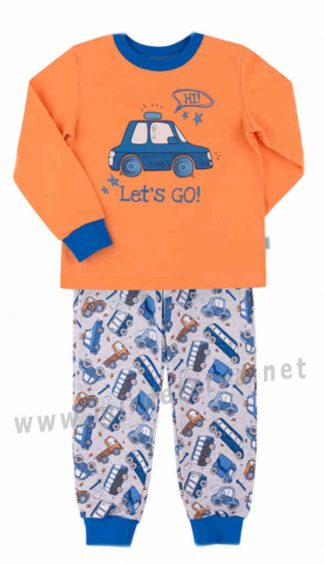 Оранжевая байковая пижама Бемби КП206