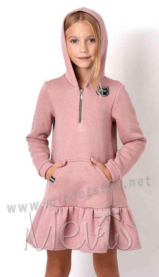 Теплое розовое платье для девочки Mevis 3108-01