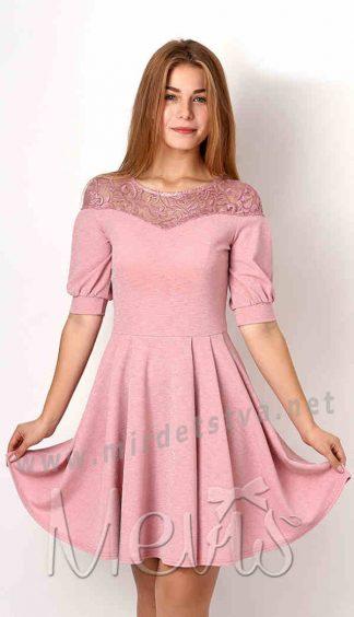 Трикотажное розовое платье Mevis 3156-02