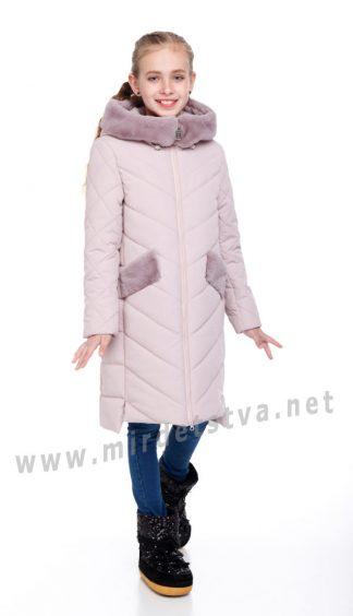 Зимнее пальто с мехом Origa Монтана пудра
