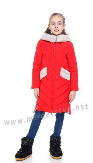 Зимний пуховик для девочки Origa Монтана с мехом