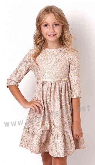 Золотистое платье с рукавом Mevis 3131-01