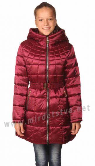 Красивое приталенное пальто деми с капюшоном девочке Nestta Max Mara бордо
