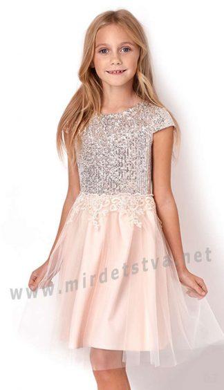Нарядное платье с кружевом и пайетками Mevis 3050-03