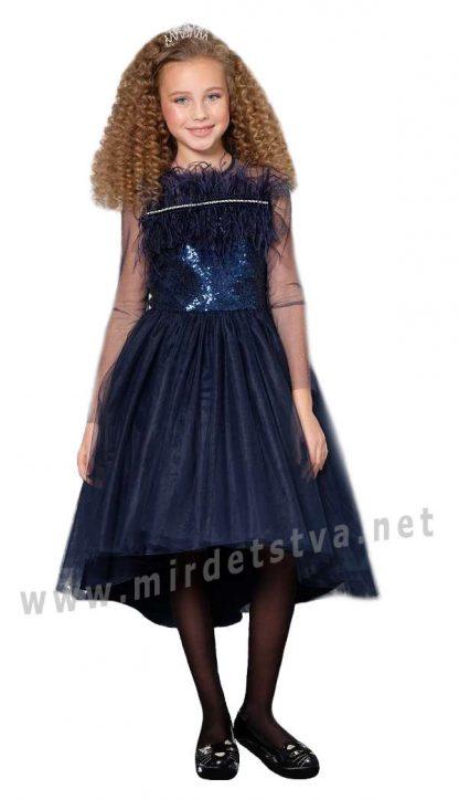 Нарядное платье с перьями и сеткой Lukas 9527