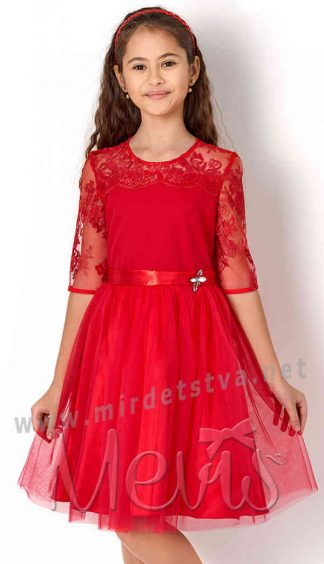 Праздничное красное платье Mevis 2573-04