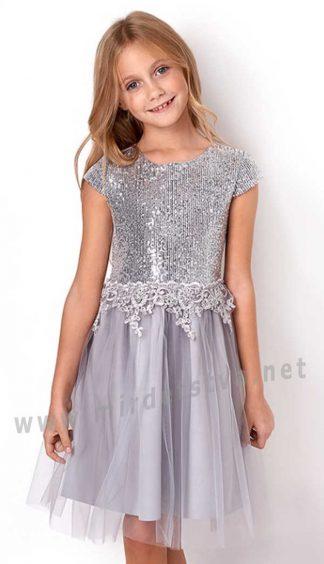 Серебряное платье нарядное Mevis 3050-02