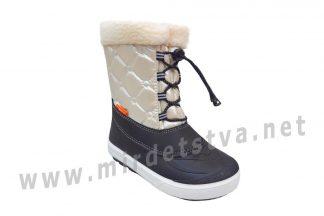 Белые непромокаемые сапоги для девочки зима Demar Furry 1530