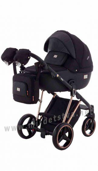 Черная коляска 2в1 Adamex Mimi Polar Pink Gold BR603