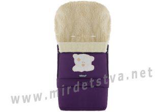 Фиолетовый зимний конверт на овчине с удлинением №20 Мишка