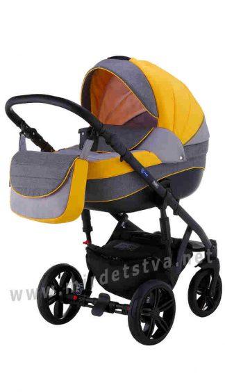 Коляска для младенца Adamex 2в1 Prince TIP 25-C желтый серый
