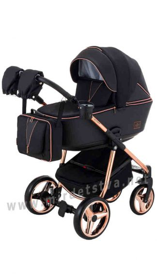 Коляска для новорожденного 2в1 Adamex Sierra Polar Pink Gold SR408