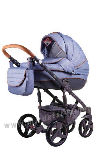 Модульная коляска 2в1 Adamex Prince X-2 голубой джинс