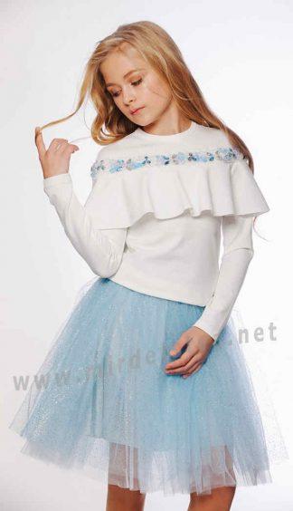 Праздничный модный белый джемпер девочкам Lukas 9545