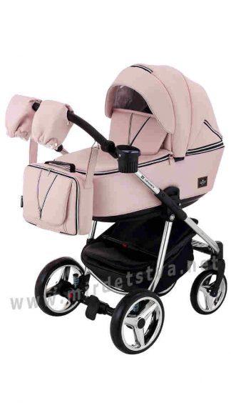 Розовая коляска 2в1 Adamex Sierra Polar Chrome SR331