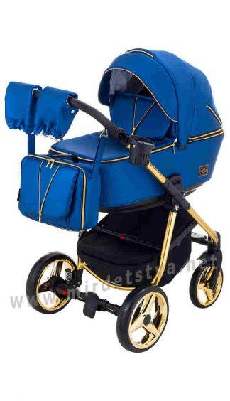 Синяя коляска 2в1 Adamex Sierra Polar Gold Y220 кожа синий