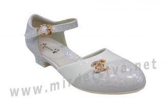 Туфли на каблуке Tom.m C-T1037-A белые с серебром