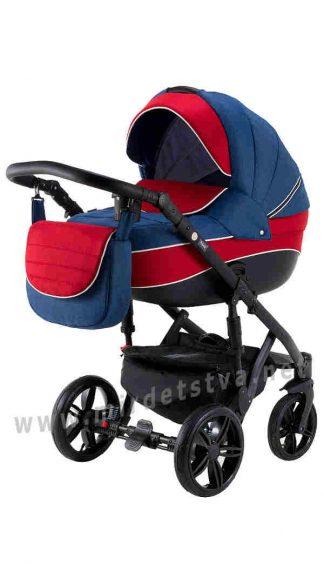 Всесезонная коляска 2в1 Adamex Prince TIP 10-C синий лен красный
