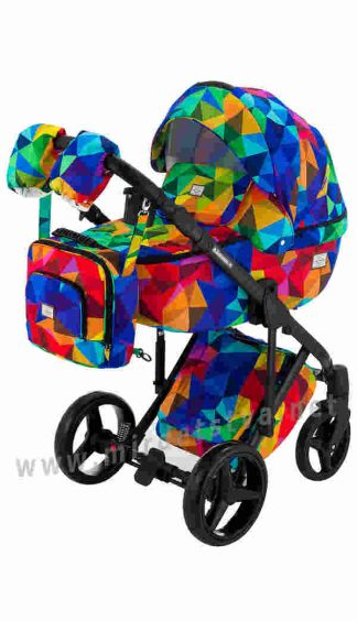Яркая коляска Adamex 2в1 Luciano Y123 разноцветный калейдоскоп