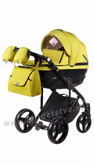 Желтая коляска 2в1 Adamex Chantal C208 всесезонная