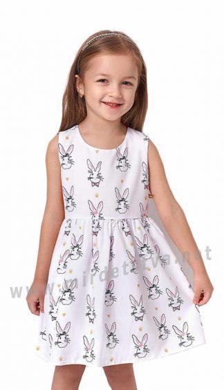 Белое летнее платье с принтом на девочку Mevis 3263-02