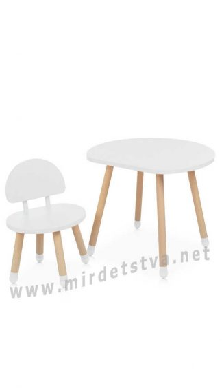 Белый столик и стул Bambi M 4254 Mushroom White