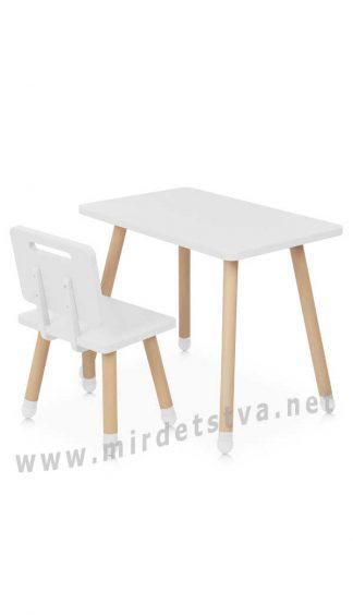 Белый столик и стул для занятий Bambi M 4256 Square White