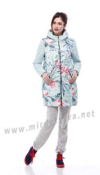 Демисезонная детская куртка Origa Веста мята и цветы