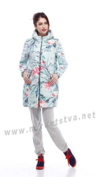 Демисезонная куртка на девочку Origa Веста мята принт цветы
