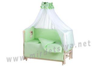 Детская постель в кроватку Qvatro Ellite AE-08 мишка с коричневым сердцем