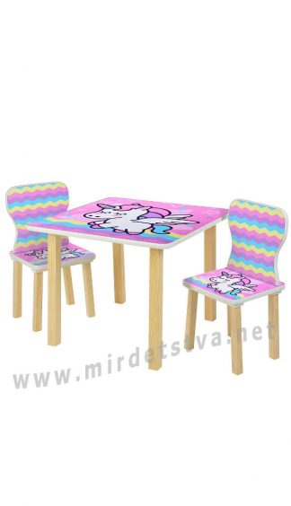 Детский столик со стульями с единорогом Bambi 508-65