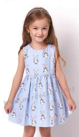 Голубое летнее платье с зайцами для девочки Mevis 3263-03