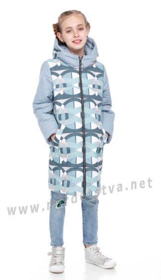Модная демисезонная куртка Origa Веста аквамарин абстракция