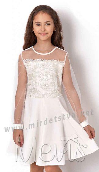 Нарядное белое праздничное платье Mevis 2559-03