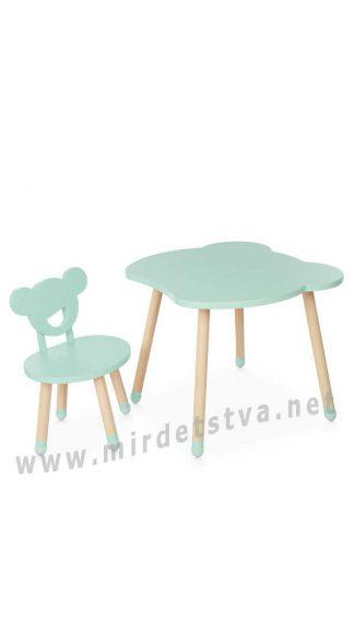 Один стульчик и стол мятного цвета Bambi M 4255 Bear Mint