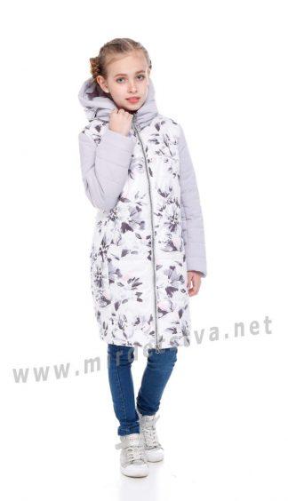 Осенняя серая куртка для девочки Origa Веста молоко цветы
