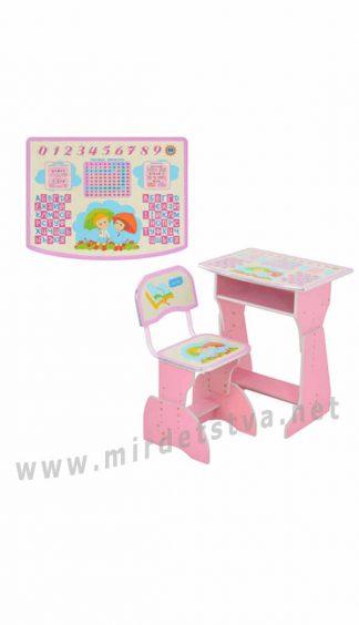 Парта и стул для девочки розового цвета Bambi HB 2029-02-7