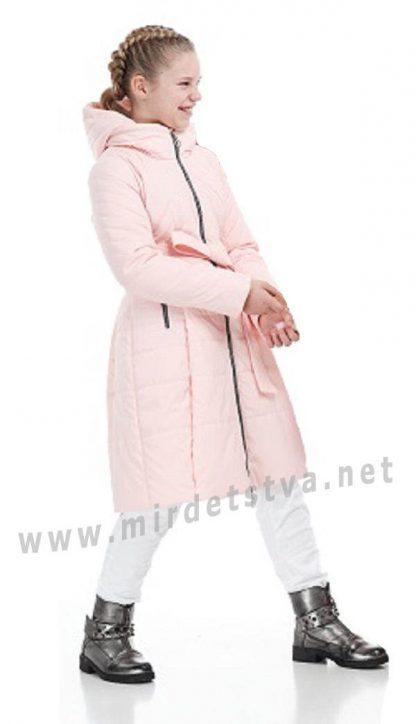 Приталенное зимнее пальто девочке Origa Аврора персик