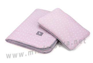 Розовый плед с подушкой Cottonmoose Cotton Velvet 408/132/117