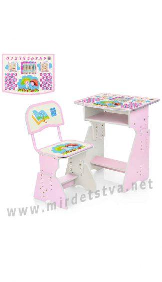 Розовый стульчик с партой Bambi HB-2029(2)-02-7