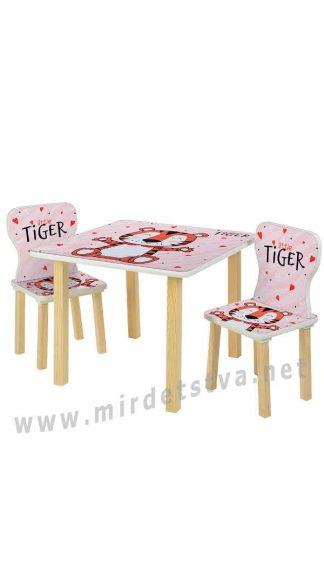 Стол и два стула с изображением тигра Bambi 508-59