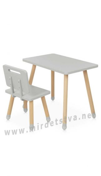 Стол и стульчик серым цветом Bambi M 4256 Square Gray