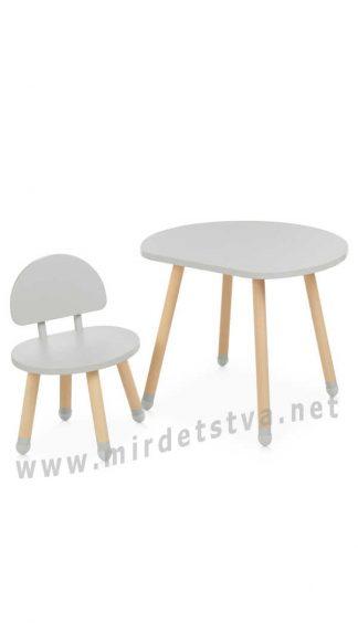 Столик и стул серого цвета Bambi M 4254 Mushroom Gray