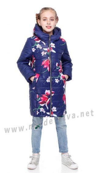 Удлиненная демисезонная курточка Origa Веста василёк