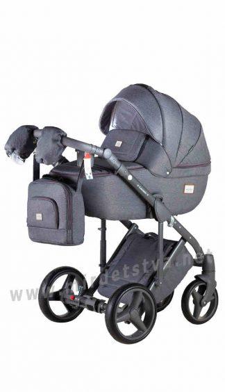 Детская коляска 2в1 Adamex Luciano jeans Q2 серый