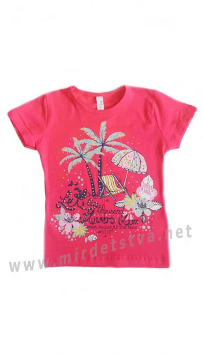 Хлопковая футболка Difa 17054 розового цвета