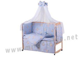 Хлопковый постельный комплект Qvatro Gold RG-08 голубой