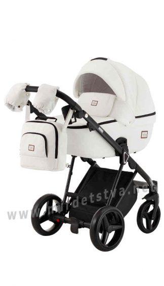 Белая прогулочная коляска 2в1 Adamex Mimi Q109 кожа