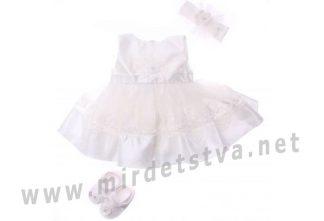 Нарядное платье с пинетками и повязкой на голову Bibaby 914704